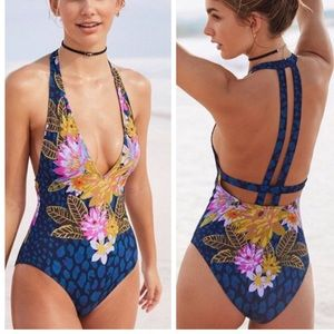 UO OUT FROM UNDER One Piece Swimsuit Blue Floral